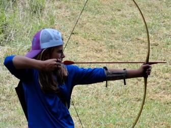 Sabrina steadies her bow.